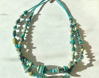 Double strand turquoise necklace, Christmas gift, birthday gift, Southwest style.