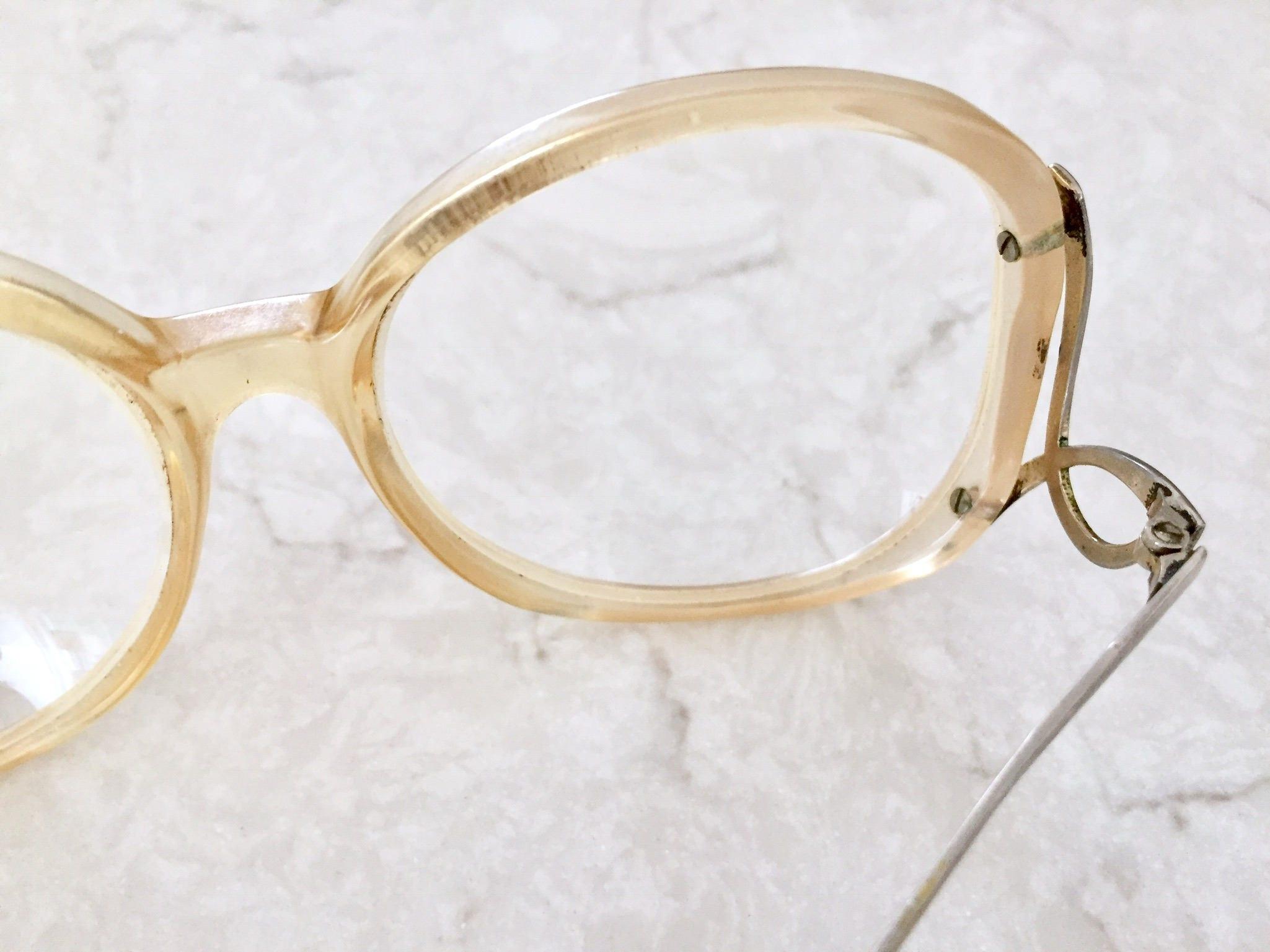 70s oversized eyeglass frames large two toned beige white frame drop arm eyeglasses oversized - White Frame Eyeglasses