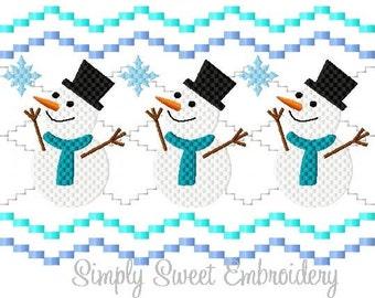 Faux Smocking Snowman Machine Embroidery Design