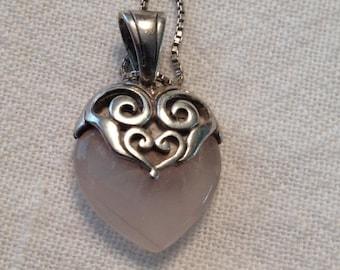 SALE Pink Quartz Stone Heart Necklace Sterling Silver