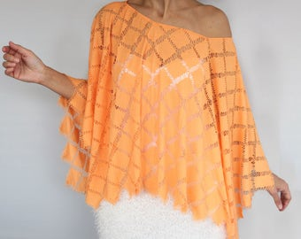 Summer Kaftan Plus Size Poncho Tunic Oversized Orange Lightweight Top Combed Cotton Cape Beach Coverup Fashion Sweamwear Accessory, Gift Her