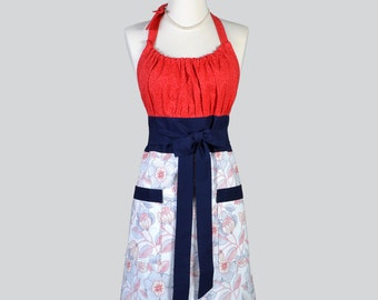 Cute Kitsch - Retro Chef Apron in Red White Blue Americana Stitched Floral with Pocket Womens Cute Kitchen Cooking Apron Ideal Gift for Her