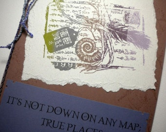 TRUE PLACES - Mixed Media Collage Greeting Card, quote by Herman Melville