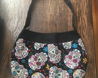 Day of the Dead Sugar Skull Buttercup Bag Purse with strap and magnetic closure