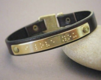 "Brass and Leather Bracelet with Braille ""I love you"" stamped on Brass, Brown Leather Bracelet, Wedding, Anniversary, Gift, boyfriend, Love"