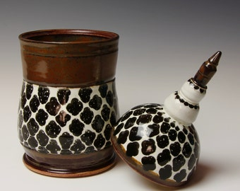 Ceramic Apothecary Jar, Brown, Black and White, Tall Stoneware Jar