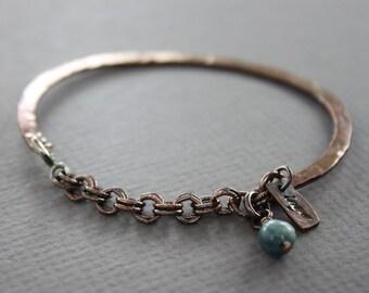 Copper half bangle bracelet with kyanite stone - Cuff bracelet - Copper bracelet - Healing bracelet - Birthstone bracelet