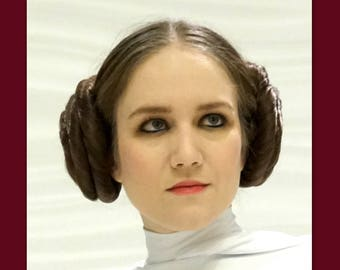 Princess Leia hair buns Star Wars hair accessories  cosplay Inspired wedding costume wig custom color hair hairpiece Carrie Fisher