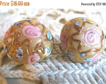 Holiday 2016 Sale Vintage Wedding Cake Venetian Murano Art Glass Clip Back Earrings