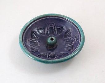 Egyptian Scarab Incense Burner Handmade Raku Pottery