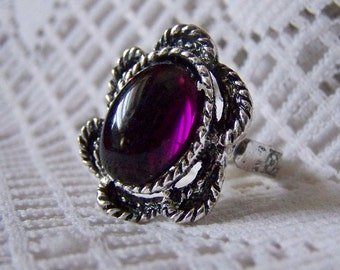 Amethyst Deep Purple Ring,  Purple& Silver Ring, February Birthstone  Cabochon Ring, Adjustable Ring, Purple Lucite Stone Ring