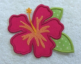 Hibiscus Flower Fabric Embroidered Iron On Applique Patch Ready to Ship
