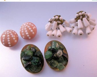 SALE Now On Ends 4/3/17 Earrings Lot of 3 Pairs Vintage Crafts or Wearable Jewelry Jewellery