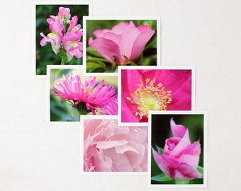 Pink Flowers Note Card assortment, boxed pack of six floral photography blank notecards, a2 stationery set of 6 photo greeting cards