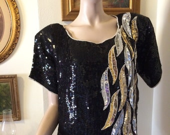Vintage 80s Joseph Le Bon Silk Made in India Ladies Gold Silver Black  Sequin Beaded  100% Silk  Holiday Top Size Medium