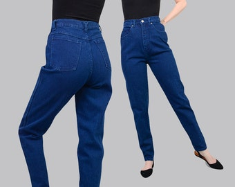 Vintage 80s Mom Jeans - Blue Stretch Pants High Waist Skinny Tight Pants - 1980s Denim Tapered Jeans Medium M 28