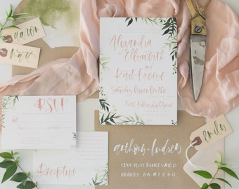 Blush + Olive Watercolor Botanical Calligraphy Wedding Invitation Suite