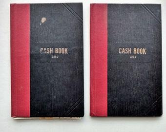 2 1950's Vintage Cash Books Ledgers
