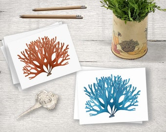 Bright Turquoise French Sea Coral Note Card, Nautical Greeting Card, Vintage Coral Note Card, Blank Greeting Card, Note Card A2