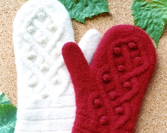 Cabin Fever Knitting Pattern #132 Aran Mittens to Felt (Adult Medium)