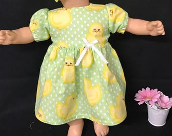 Easter Chicks Doll Dress for 15 Inch Dolls Handmade to fit like American Girl Bitty Baby or Twin Yellow Easter Chick Green Polka Dot  Dress