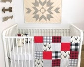 Baby Boy Blanket, Lumberjack, Nursery Decor, Minky Blanket, Woodland Nursery, Red, Black, Gray, Grey, Deer, Buck, Arrows, Buffalo Plaid