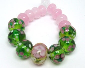 DESTASH  lampwork beads - Pink Flowers - pink, poppy, fairy floss, green, pretty floral glass beads, spacer beads, loose glass beads