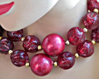 Choker Necklace Vintage 50s Jewelry Maroon Lucite Beads Glitter and Metallic