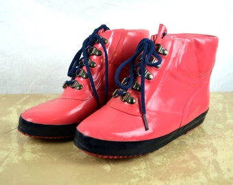 Vintage Pink Rain Duck Boots Rubber Booties - Size 8