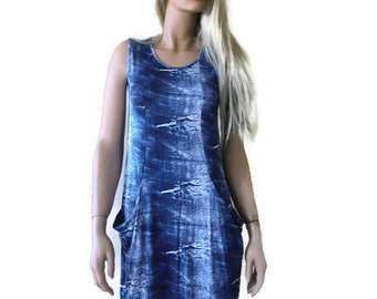 Shredded denim look sleeveless summer dress-Soft and stretchy- Super comfortable-Wardrobe stapler-Size M/L
