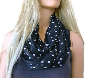 Black and White..Polka dots .Necklace Scarf-Chiffon infinity scarf-Instant gratification