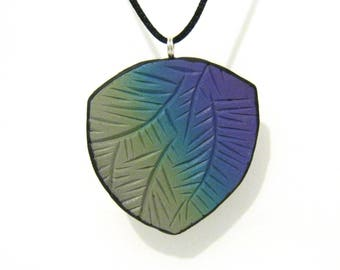 Gradient Carved Shield Pendant - Gray, Blue and Purple - Curved Triangle Shape - Black Satin Cord Necklace - Polymer Clay Pendant