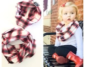 Mommy and Me Infinity Scarf Set Toddler/Baby Plaid Flannel Infinity Scarf, gray and red, girls gift, christmas scarf