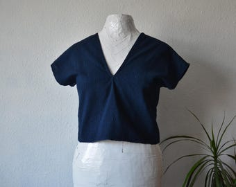 Dark blue blouse | Etsy