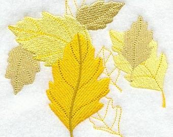 FALL BIRCH LEAF White Cotton Kitchen Tea Towel