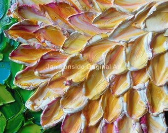 oil painting, Original Art, Painting, Oil Painting  Dahlia Impasto  Art Impressionist, art on canvas