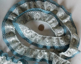 """2 Yds Long, 2"""" W, Blue & Cream Lace, 1970s, Double Ruffle, Made In USA, Craft And Sewing Supplies, Doll Lace, DIY Lace Trims, Gathered Lace"""