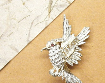 Vintage Brooch Pin, Bird Brooch, Woodpecker Pin, ANIMAL CHARITY DONATION