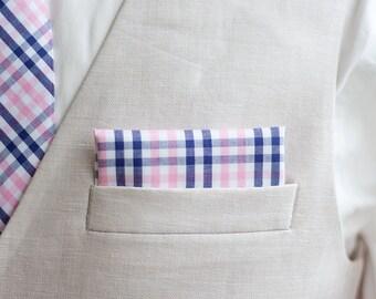 Pocket Square, Pocket Squares, Handkerchief, Mens Pocket Square, Boys Pocket Square, Wedding Pocket Squares, Plaid - Navy And Pink Plaid