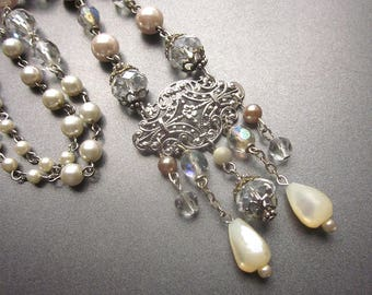 Crystal and Pearl Beaded Necklace Wedding Jewelry Handmade