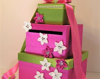 Wedding Card Box Hot Pink / Lime green and White Gift Card Box Money Box Holder--Customize your color