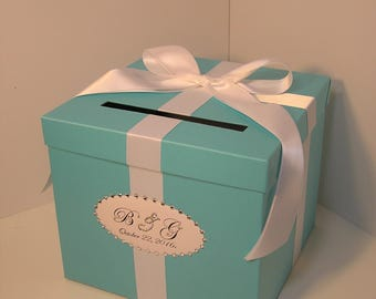 Wedding  Card Box Blue Gift Card Box Money Box  Holder-Customize/made to order (10x10x9)