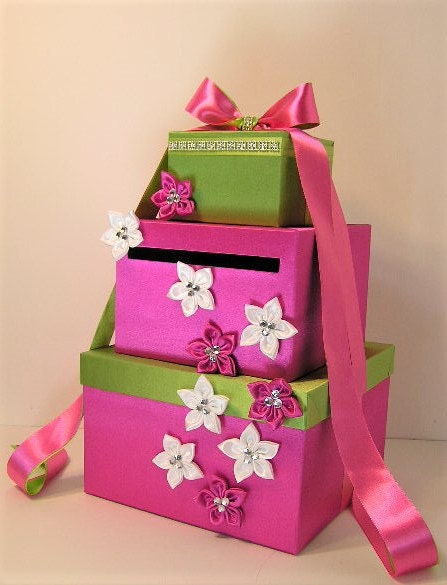 Wedding Gift Card Box Uk : Wedding Card Box Hot Pink / Lime green and White Gift Card Box