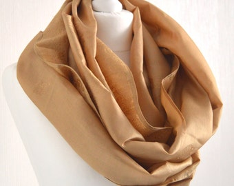 Hazelnut Embroidered Pure Silk Infinity Scarf - Eternity Scarf - Loop Scarf - Nursing Cover - Unique Gift - Boho Chic - CMCISP0238
