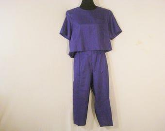 Joan Walters Purple Pant Outfit Capris Top 2 piece set Vintage 80s L