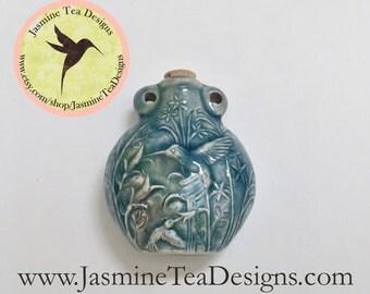 Blue Glazed Hummingbird Vessel Pendant, Peru Ceramic Raku Hummingbird Bottle 49mm