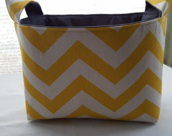 Fabric Baskets  Storage Organizer Bins - Chevron Yellow Zig Zag