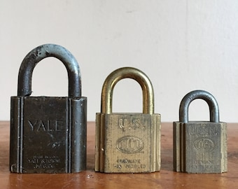 Trio of Vintage US Navy Brass Locks. Yale and Ilco.