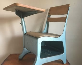 Vintage Mid Century Blue Metal Child's School Desk. The Crusader.