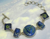 Blue Egyptian Bracelet 1920s Sterling Silver King Tut Art Deco Jewelry
